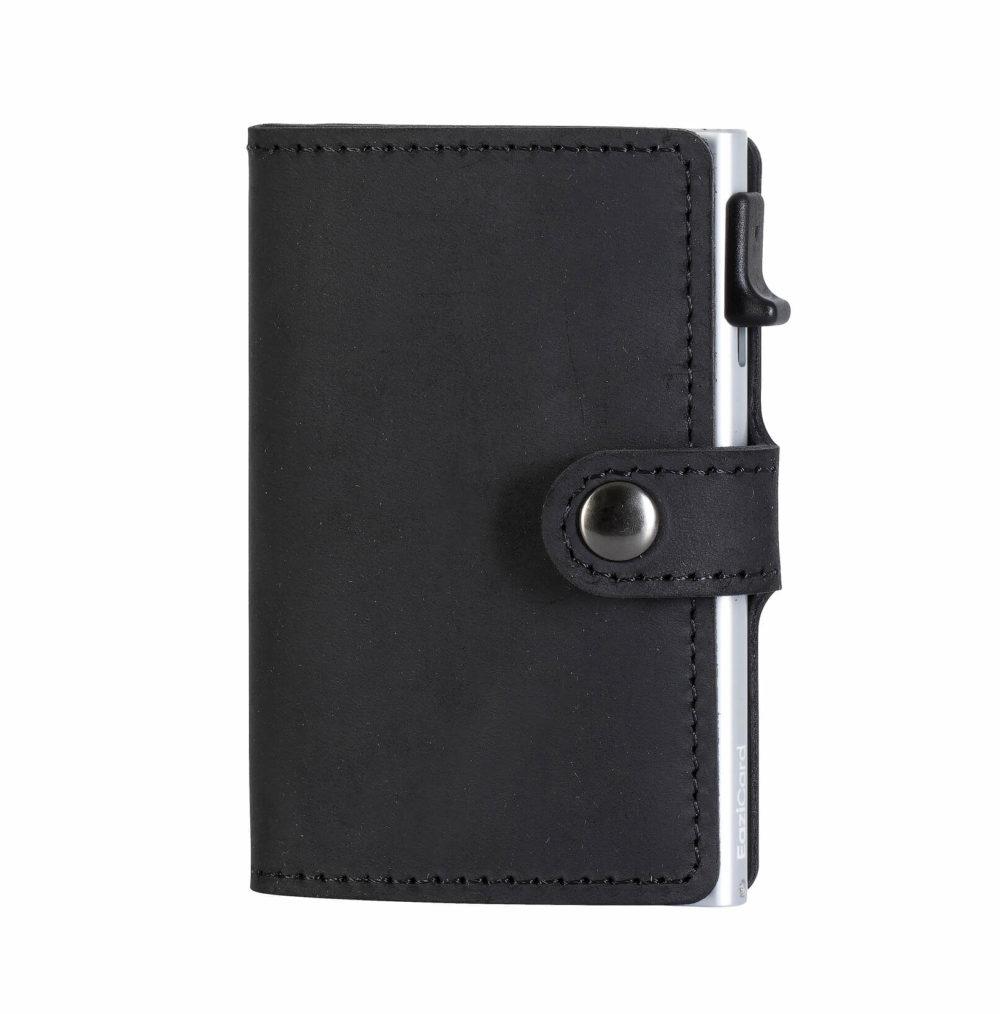 Genuine Leather Card Holder – Black/Silver