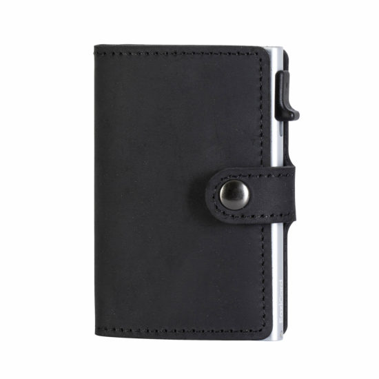 Genuine Leather Card Holder – Black/Silver