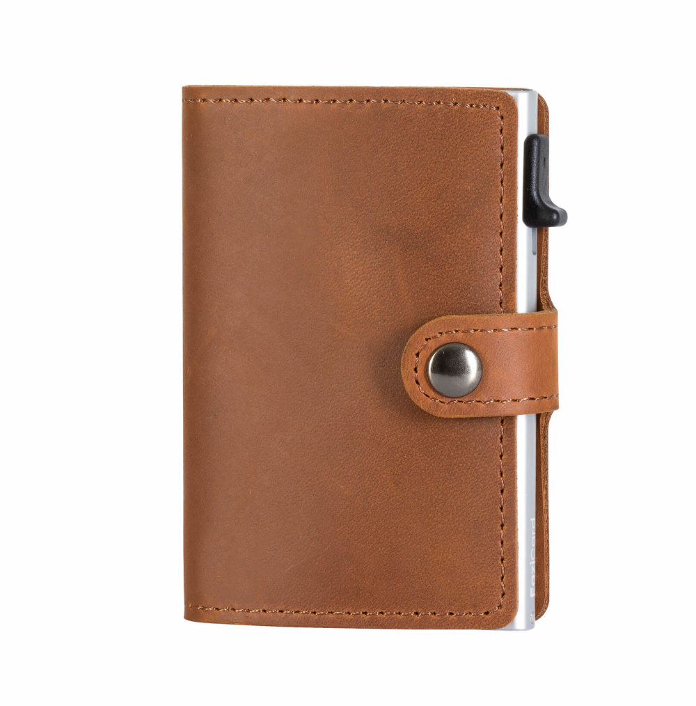 Genuine Leather Card Holder – Brown/Silver