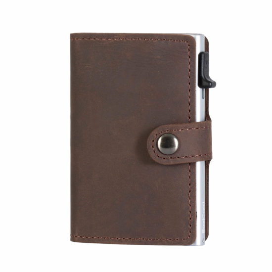 Genuine Leather Card Holder – Dark Brown/Silver