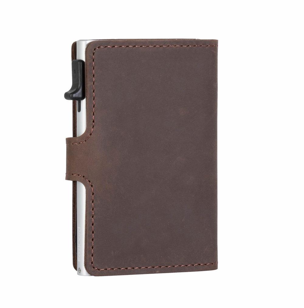 Genuine Leather Card Holder – Dark Brown/Silver