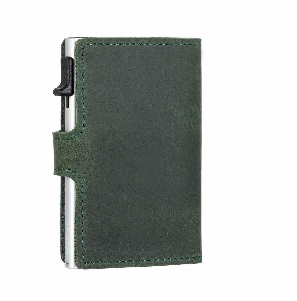 Genuine Leather Card Holder – Green/Silver