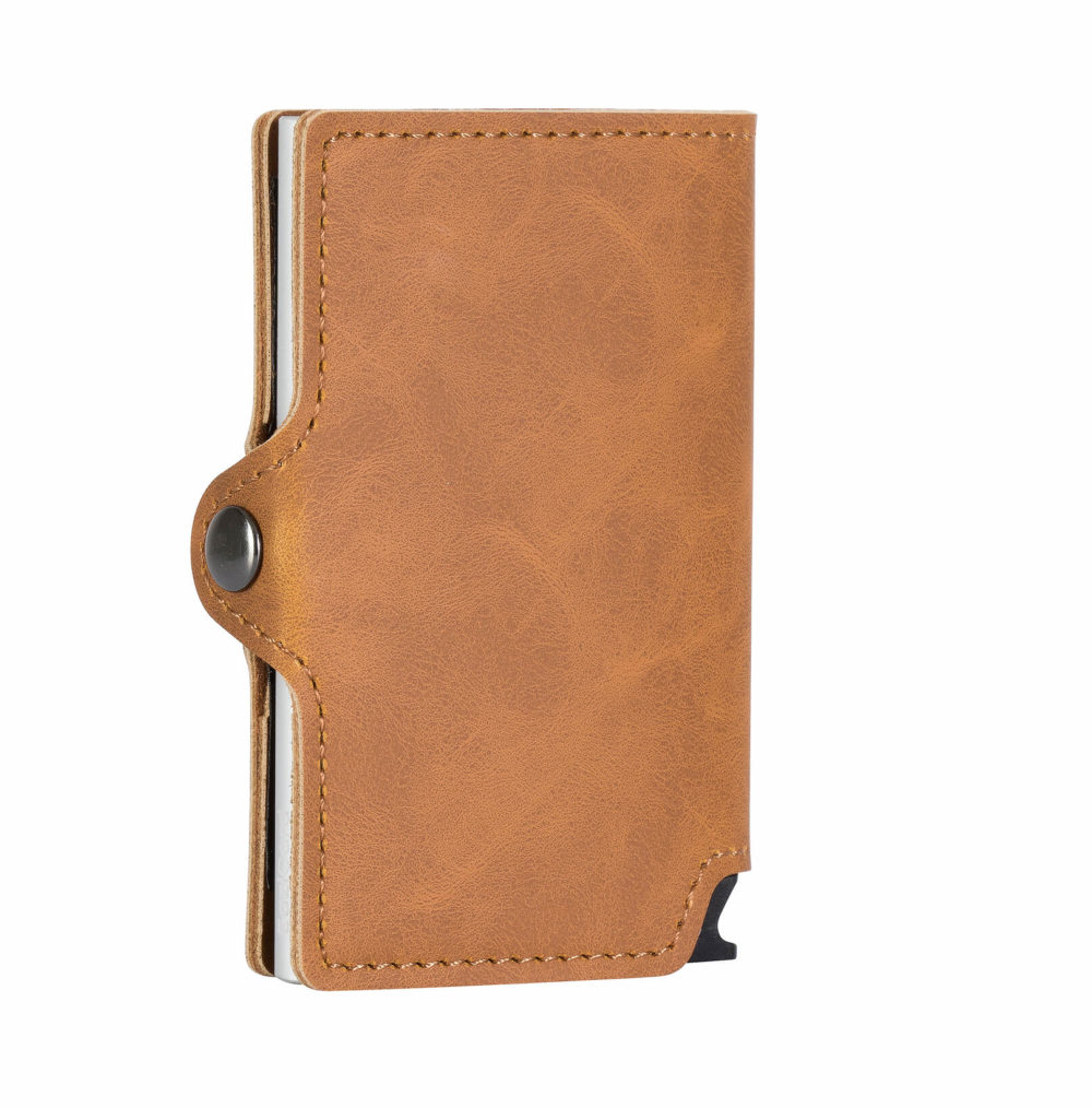 PU Leather Card Holder – Brown/Silver