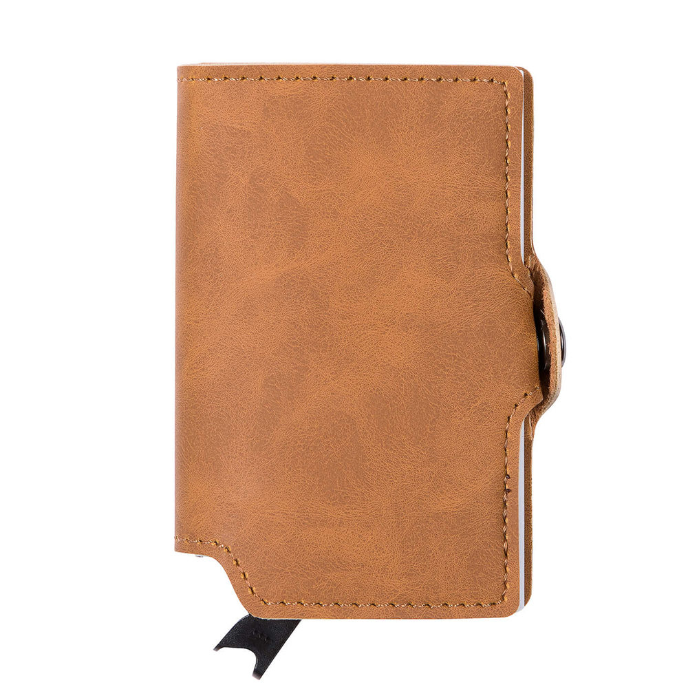 PU Leather Card Holder - Brown/Silver