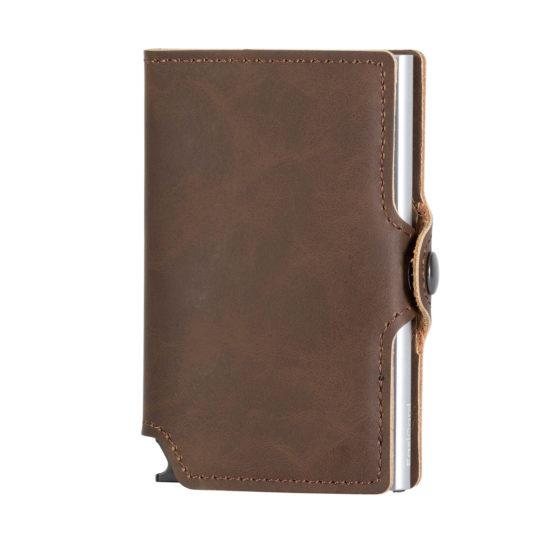 PU Leather Card Holder – Dark Brown/Silver