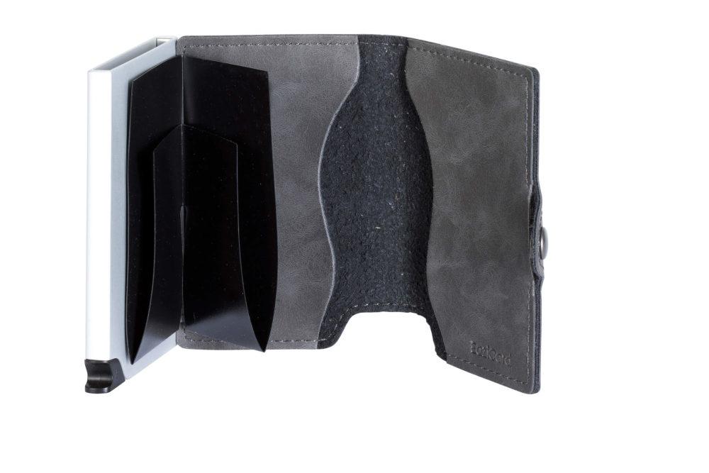 PU Leather Card Holder – Grey/Silver