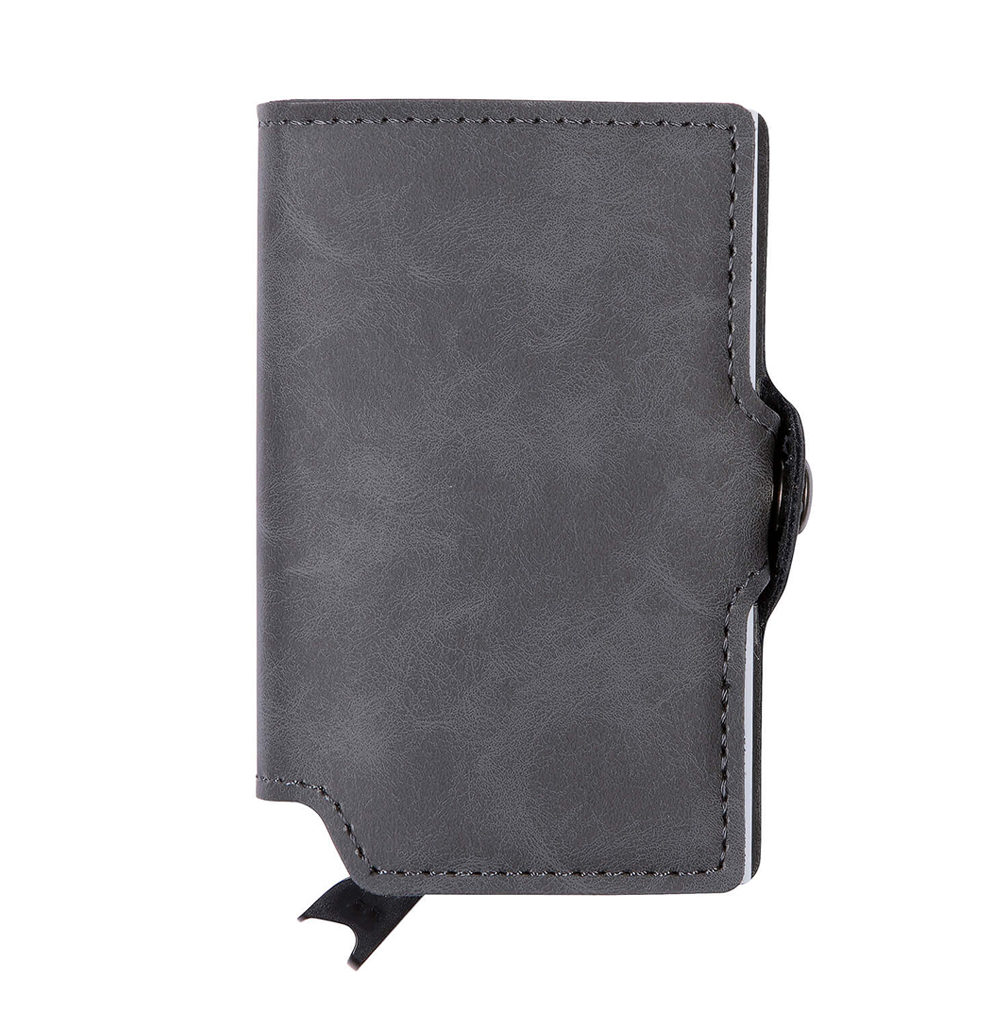 PU Leather Card Holder - Grey/Silver