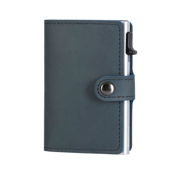 Genuine Leather Card Holder - Blue/Silver