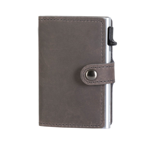 Genuine Leather Card Holder - Grey/Silver
