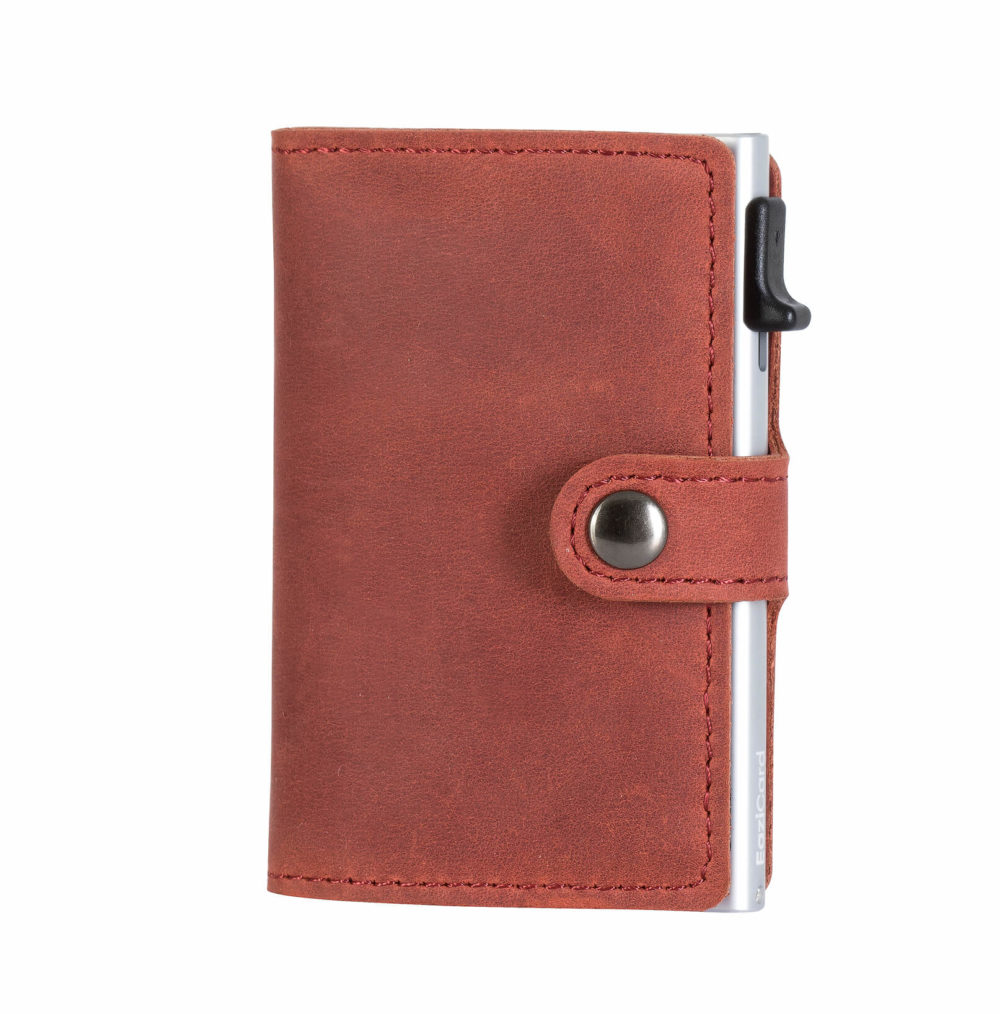 Genuine Leather Card Holder – Red/Silver